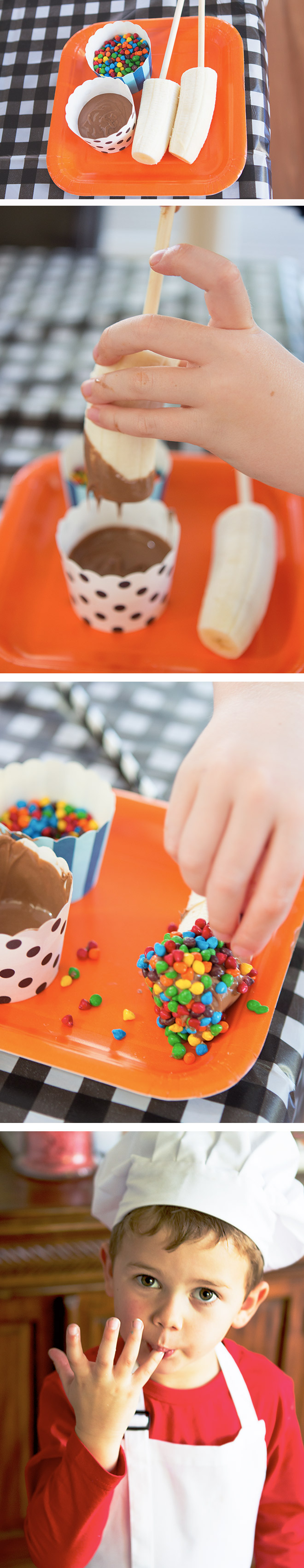 Yummy choc-dipped bananas are a great party food at a Little Chefs Party!