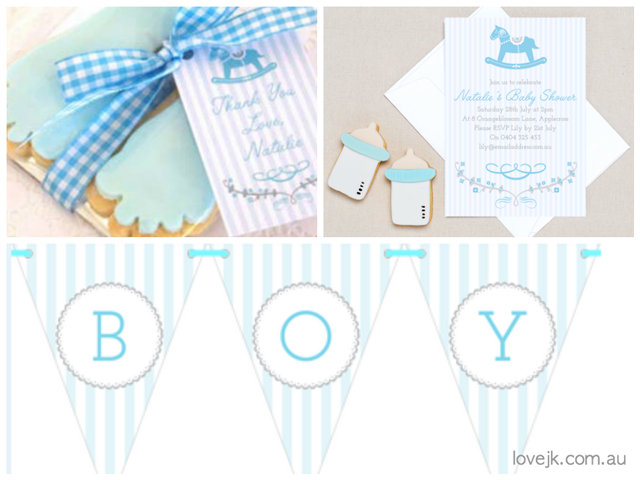 Blue Rocking Horse Baby Shower