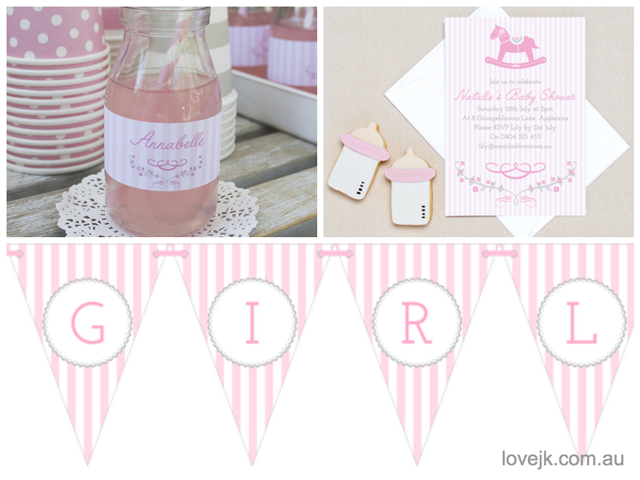 Pink Rocking Horse Baby Shower Party Stationery