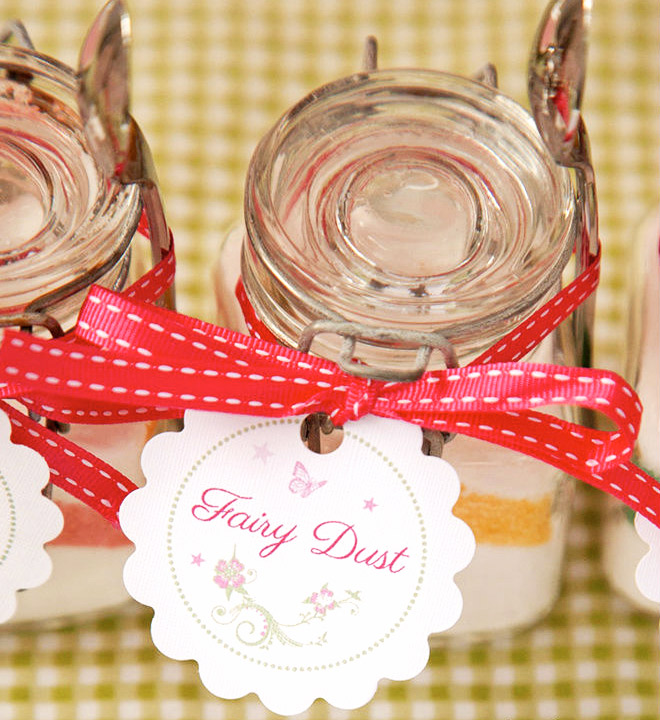 A jar of fairy dust is the sweetest favour to send guests home with after a fabulous fairy party!