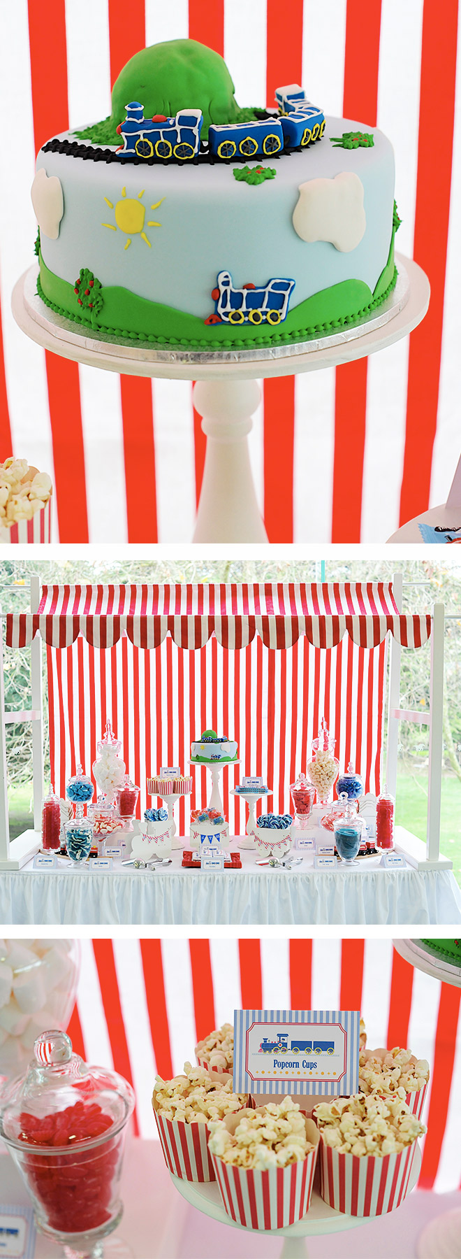 Train Party Lolly Buffet featuring a train birthday cake, popped popcorn and lots of red and blue sweet treats!