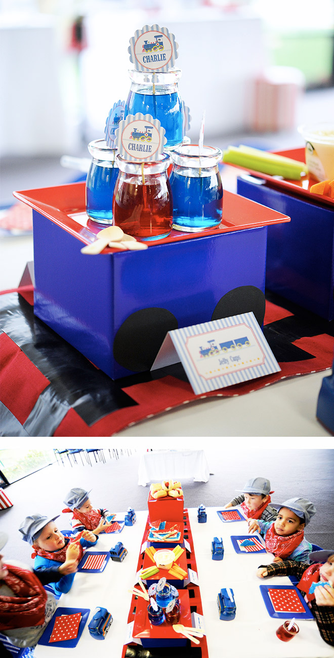 Train Party DIY Party Table with train track runner and carriage plates!