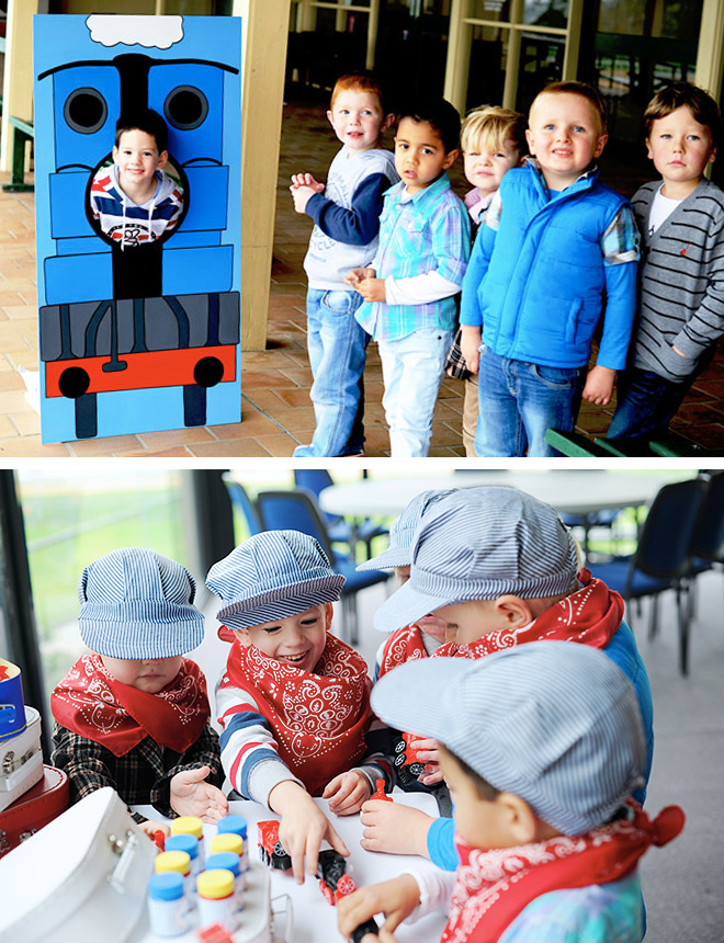 Train Party Ideas - Photobooth cut out and a colouring 'station' for lots of party fun!