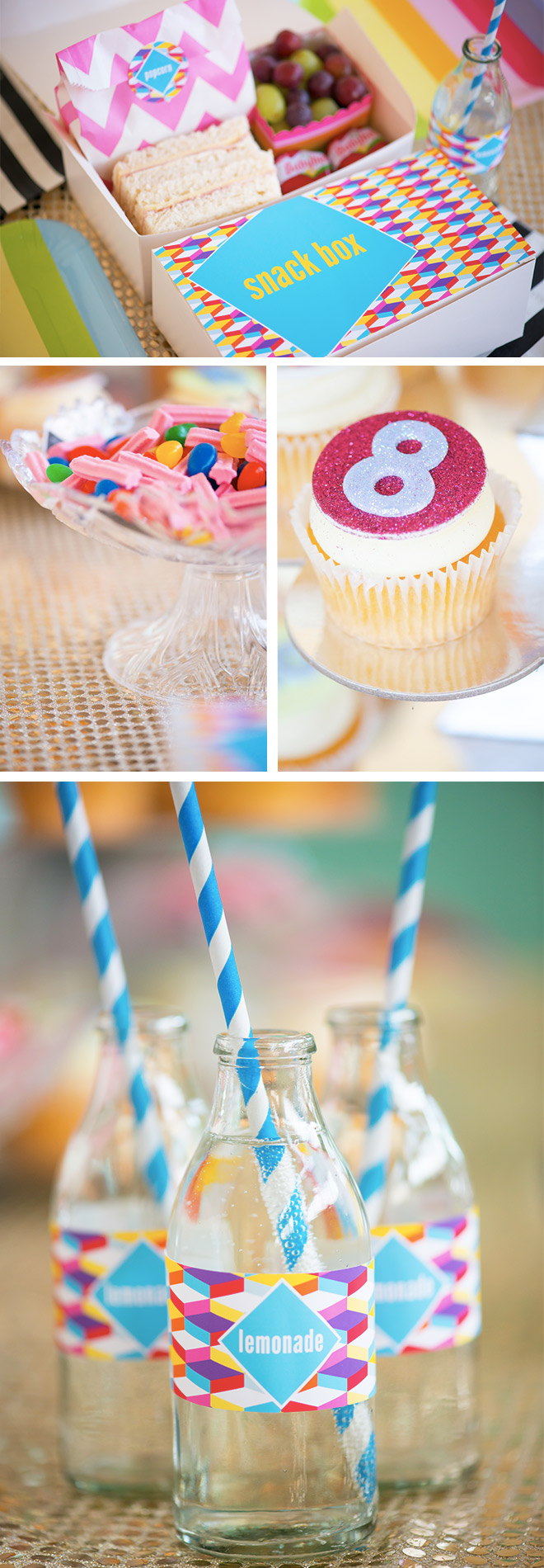 Disco Party Food Ideas - Sparkling cupcakes, fizzy lemondae and sweet honeyjoys