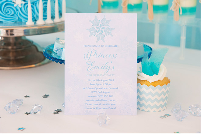 Frozen Party Invitation and Cupcake with Icy Blue Shard