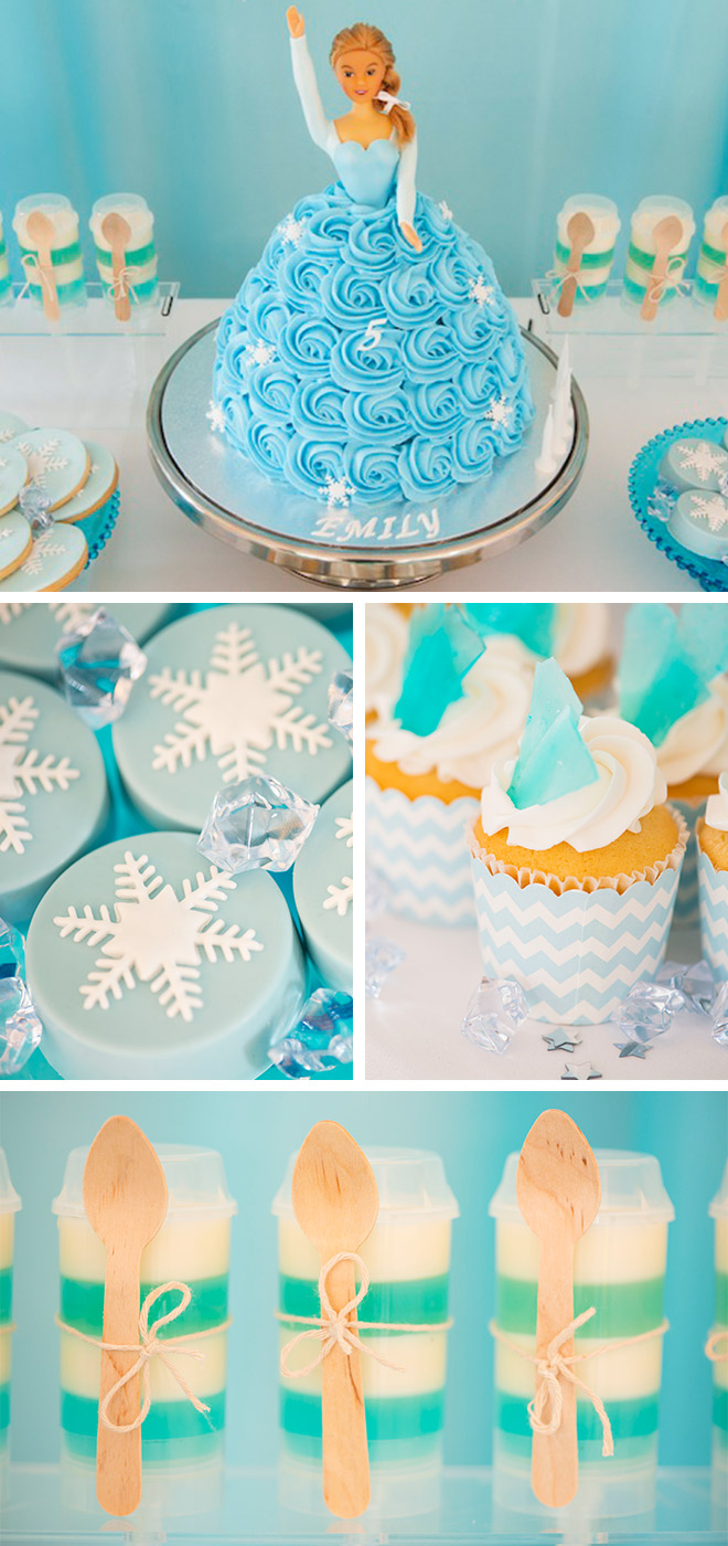 Frozen Party treats! Blues, whites and snowflakes... Our icicle cupcakes, snowflake cookies and incredible Elsa birthday cake were from the team at Burnt Butter in South Melbourne. Chocolate covered Oreos and ice coloured jelly shots looked great too!