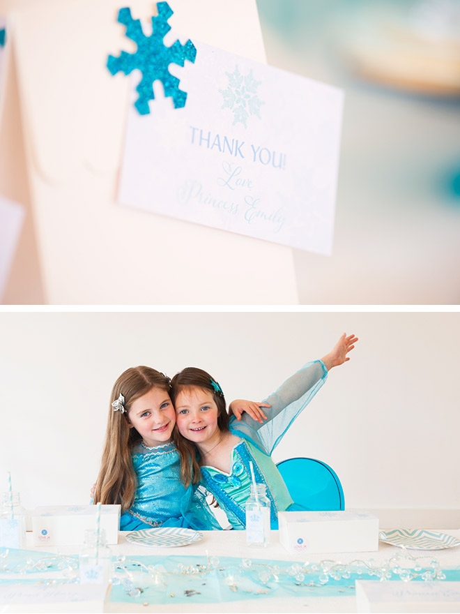 At the end of our Frozen party, all the guests went home with a very cool party bag topped off with our personlised thank you gift tag.