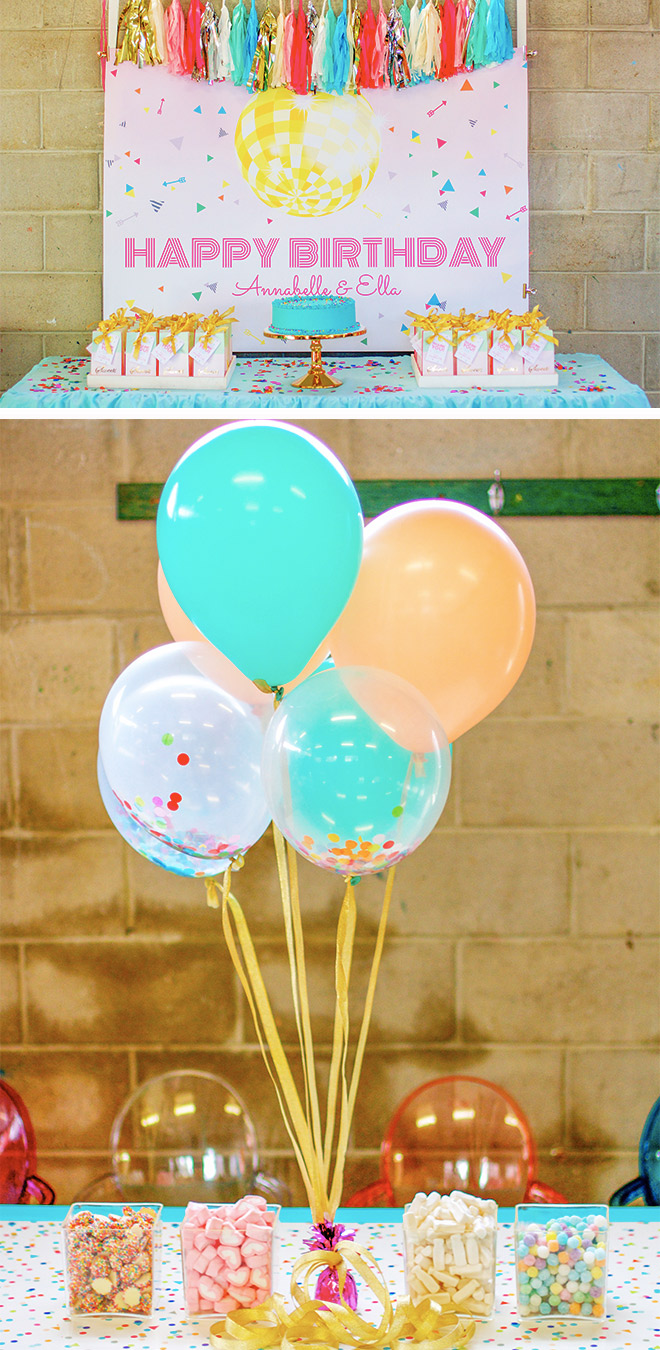 Backdrop and decoration ideas for a disco party