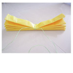 Secure the length of tissue paper in the centre with ribbon/twine