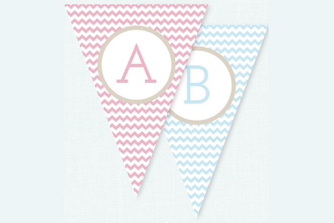 Pink and blue bunting for a baby shower