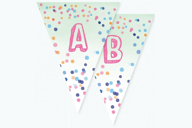 Cute confetti bunting for Baby Shower