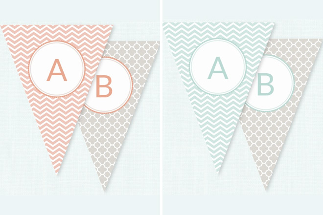 Muma and Bubba bunting in peach and green for baby showers