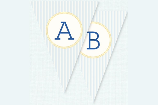 Bunting for a nautical themed baby shower