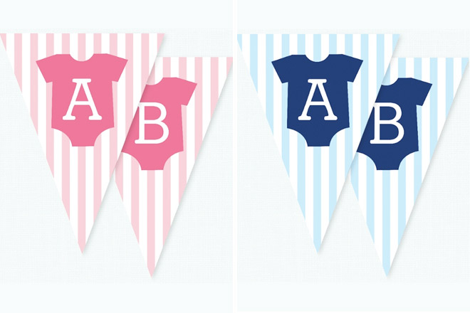 Sweet bunting for a boys and girls babyshower