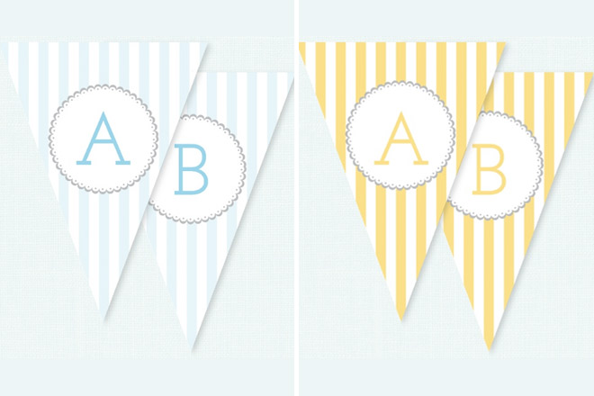 Baby Shower bunting in yellow and blue