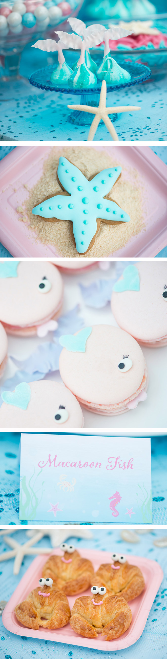 Mermaid Party Food Ideas: Meringue Tails, Macaroon Fish & Crab Croissants! Yum!!