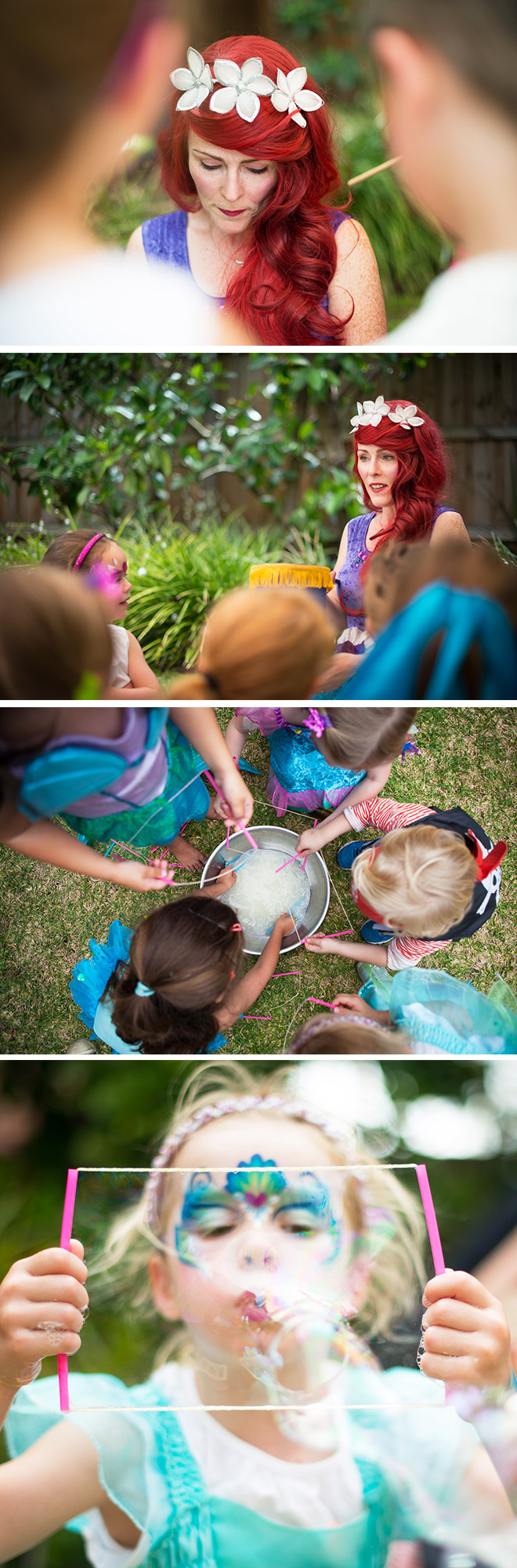 Mermaid Party Game Ideas: Blowing bubbles and underwater stories in the garden!