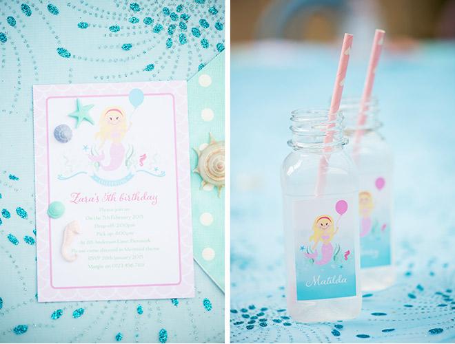 Mermaid Party Invites & Personalised Water Bottles from Love JK