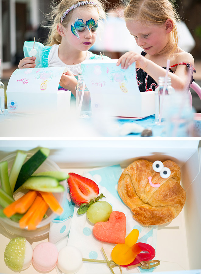 Mermaid Party Lunchbox Ideas: Crab Croissants, Veggie Sticks, and Fruit kebabs!
