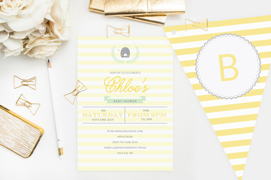 Bumble Bee Baby Shower Invitation and Bunting