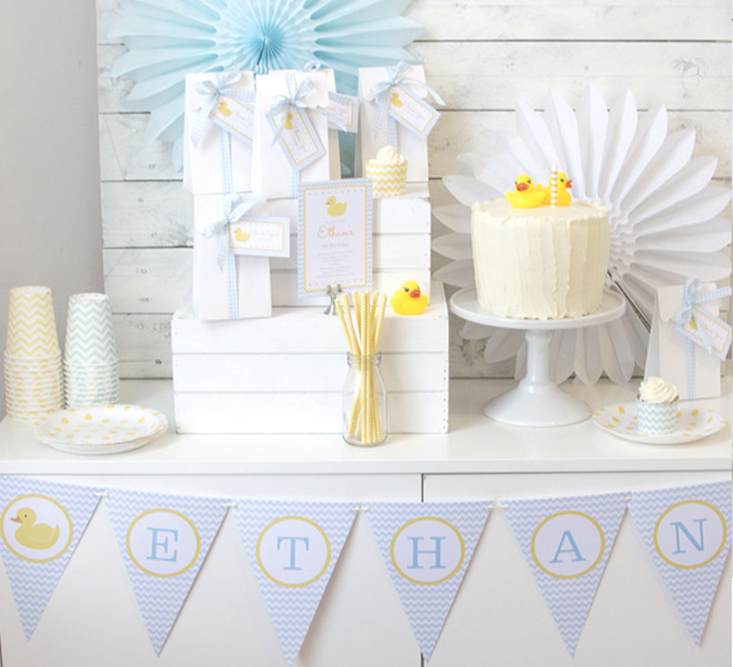 Celebrate their first birthday with an adorable Rubber Ducky Party