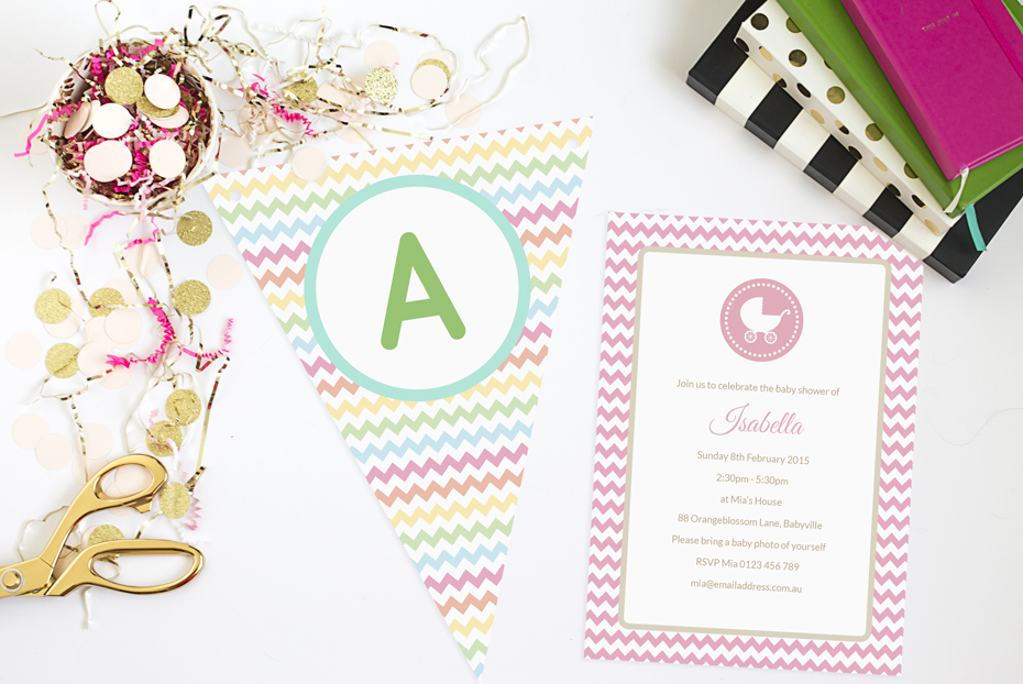 Chevron Baby Shower Invitations and Bunting