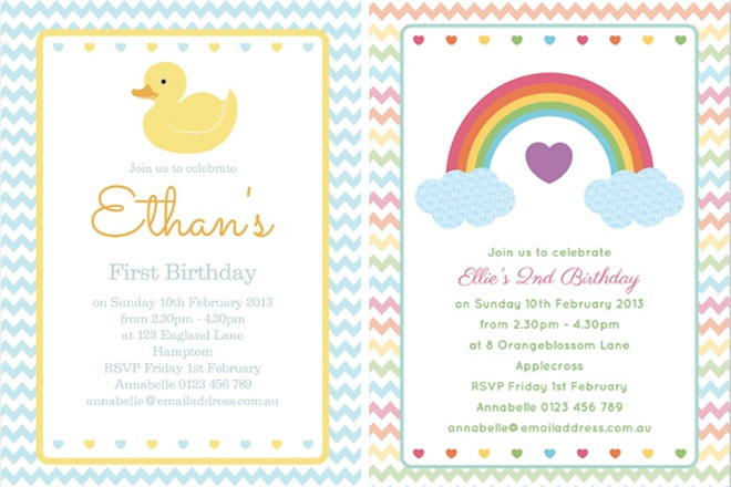 First Birthday Invitations for baby girl and boy