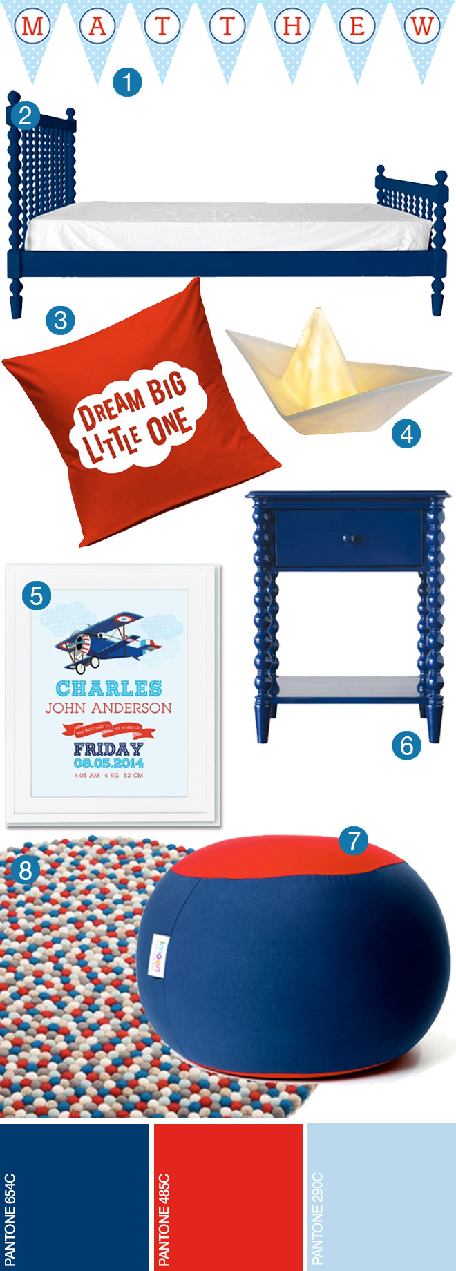 Blue, Red and White Boys Bedroom Ideas