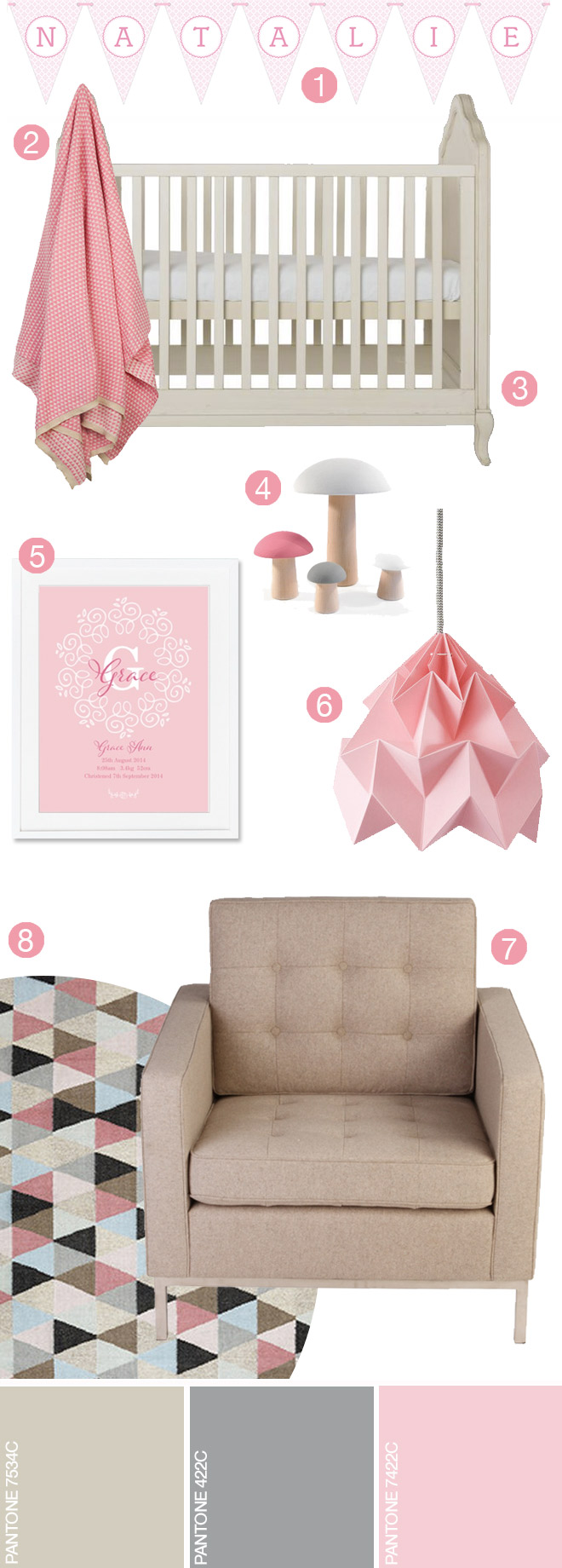 Pink & Grey Nursery Inspiration and Ideas for your little girls' room. Dusty pinks, muted grey and beige create a gorgeous girlie environment.