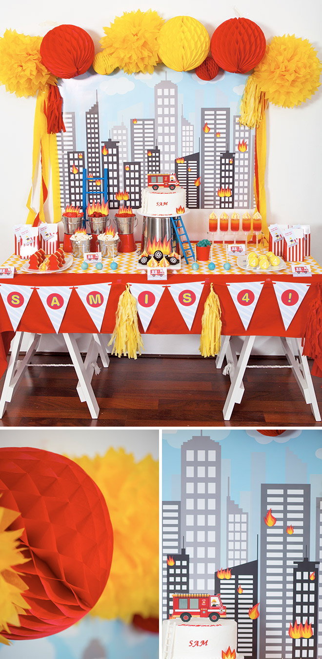 Fireman Party. Cityscape backdrop, red tablecloth, chevron table runner, fireman bunting flags and bright yellow pom poms