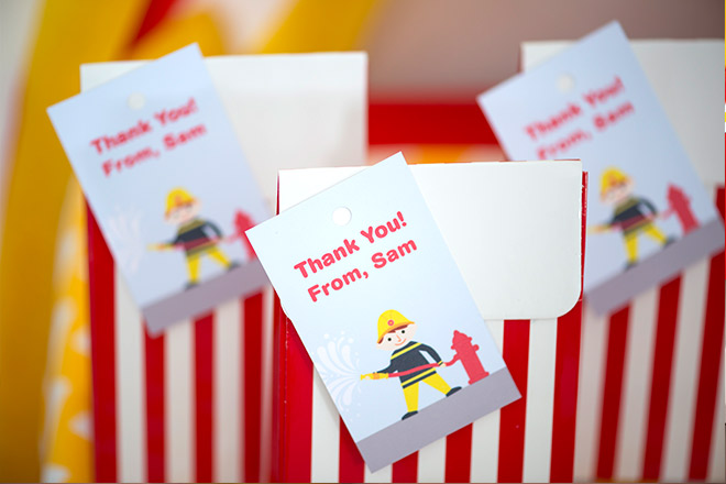 Fireman Party. Gift bag with thank you tags by Love JK