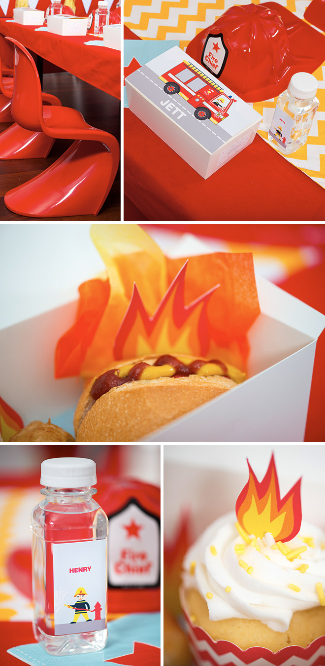 Fireman Party. Party table and lunch box ideas. The paper flames and scrunched tissue paper make this fireman party lunch box so much fun!