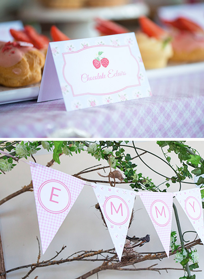 Sweet Strawberry Party - Party stationery featuring bunting flags and tent cards by Love JK & Strawberry Themed Birthday Party | Love JK