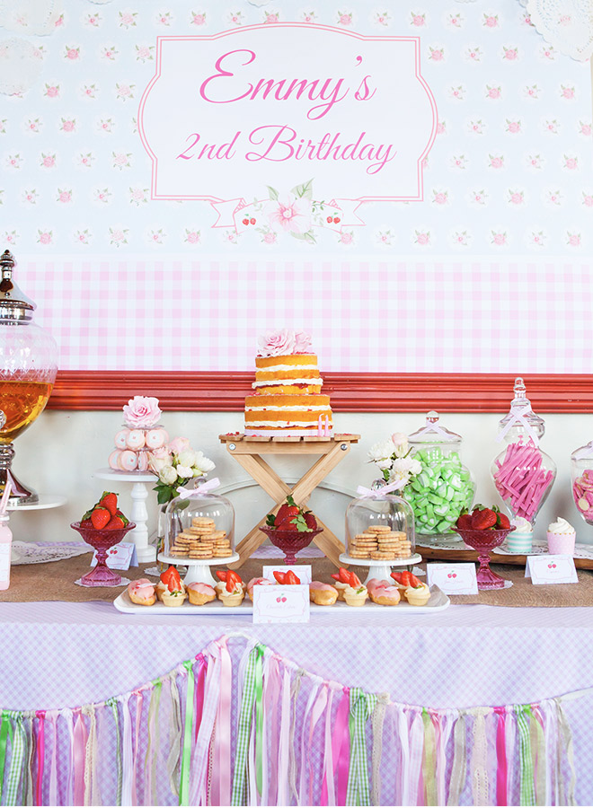 Sweet Strawberry Party -  Dessert table, decorations and pretty sweet goodies via Love JK