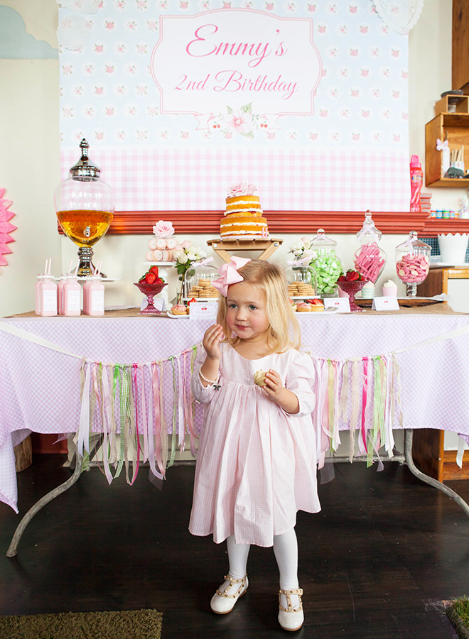 Sweet Strawberry Party - Dessert table, cute backdrop and pink party food via Love Jk