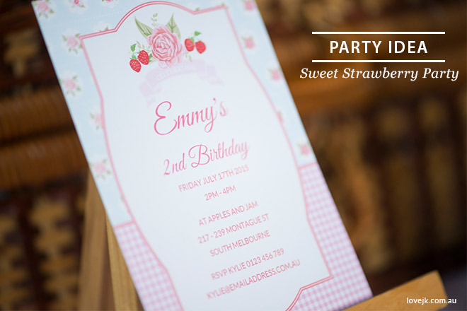 Sweet Strawberry Party - Personalised strawberry invitation by Love JK