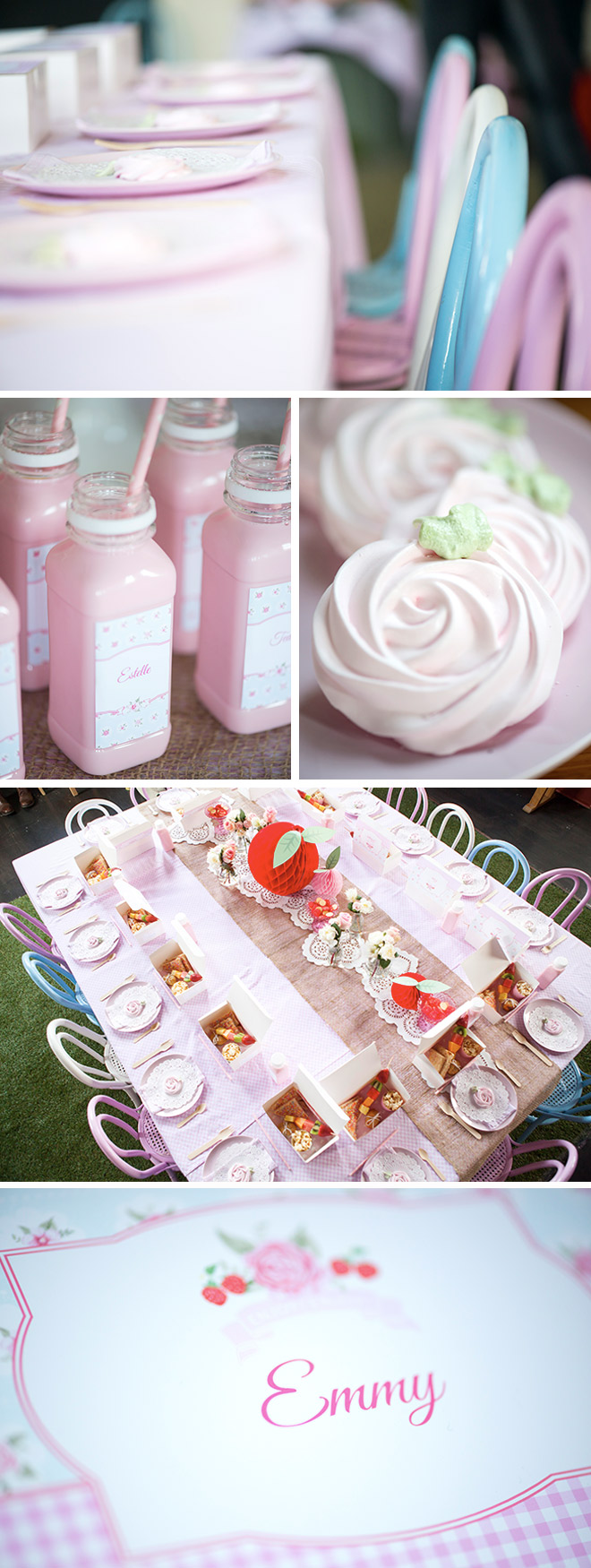 Strawberry themed birthday party love jk sweet strawberry party dessert table ideas with personalised drink bottles sweet meringues and personalised forumfinder Gallery