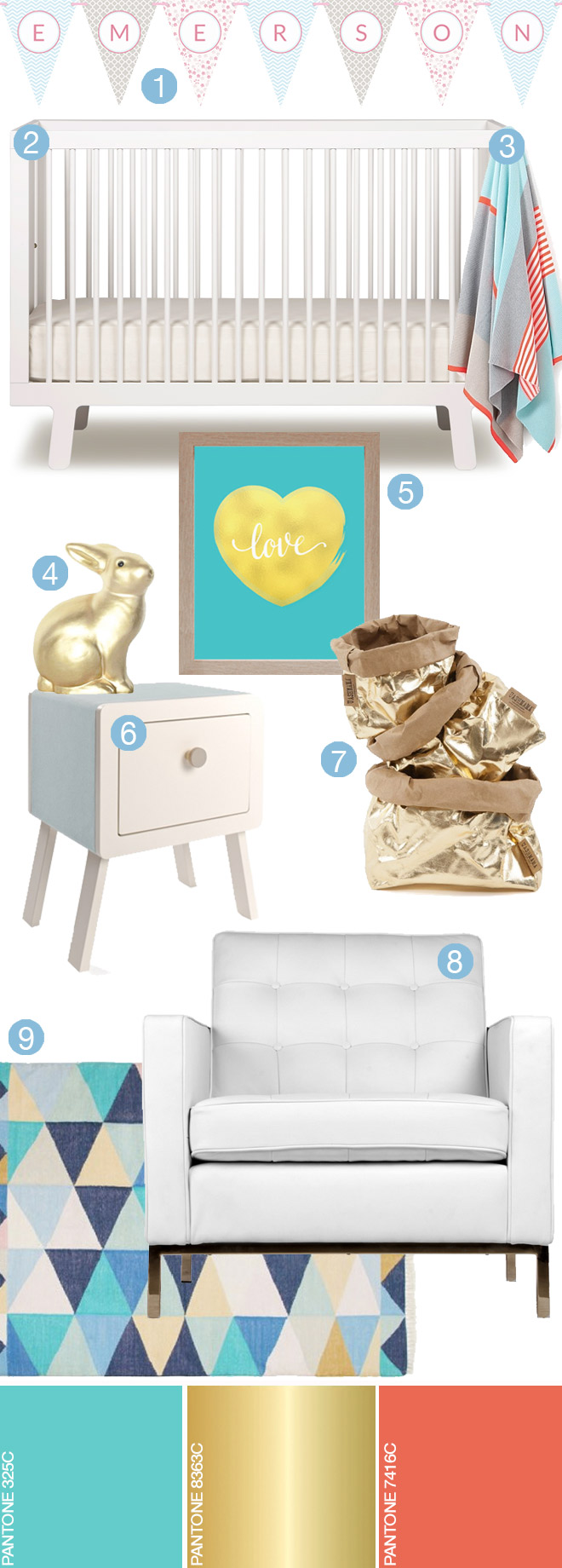 Aqua blue and gold nursery | Love JK
