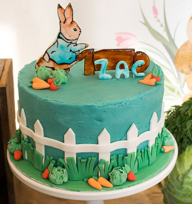 Amazing Peter Rabbit inspired cake for our Garden Bunny first birthday party