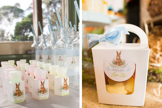 Personalised drink bottles, bubbles and favour boxes for every guest to take home