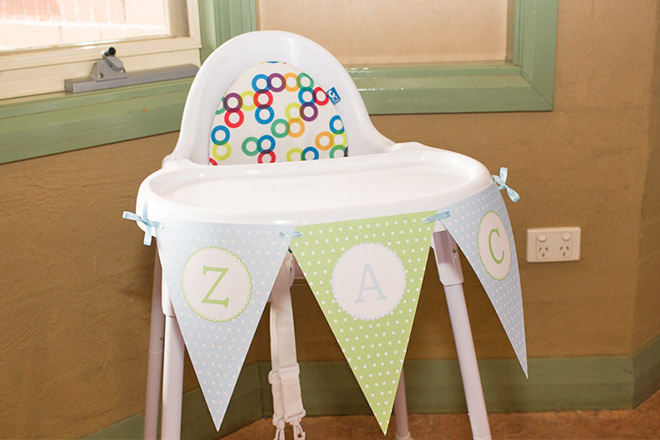 Personalised bunting flags for the birthday boy's high chair