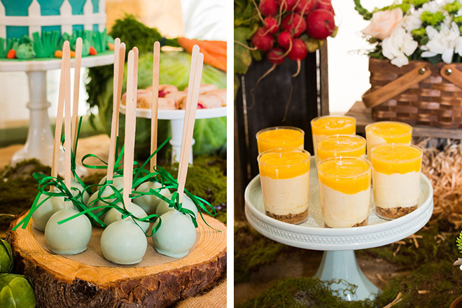 Wood slices make the perfect props for this bunny-themed desstert table. Pastel cakes pops and mini cheesecakes... Yum!