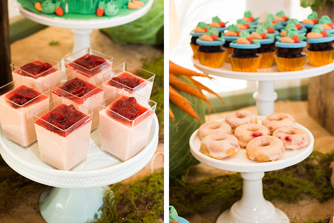 Raspberry donuts and individual pana cotta keep the adults happy at the party