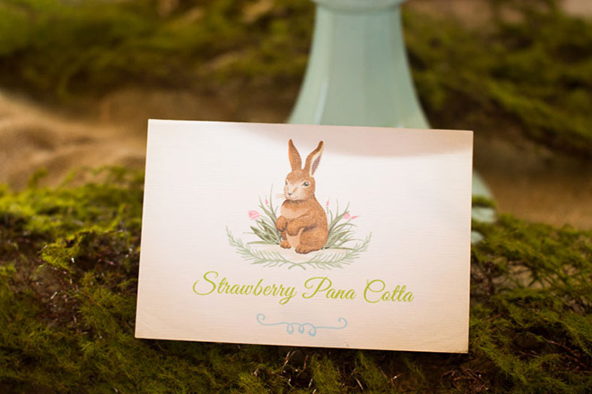 Personalised tent cards for our garden bunny birthday party