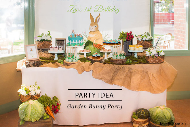 An adorable garden bunny party for Zac's first birthday. Great party theme for boys and girls