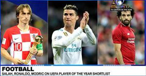 RONALDO SHORT-LISTED AGAIN ALONGSIDE LUKA MODRIC AND MOHAMMED SALAH AS UEFA PLAYER OF THE YEAR