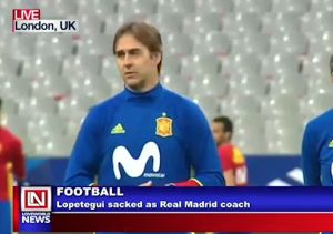Real Madrid's Coach Sacked  Real Madrid's Coach, Julen Lopetegui, relieved of his duty as coach of the      football club