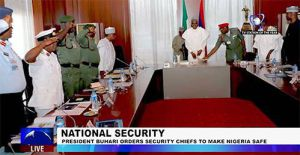 President Buhari Meets with His Security Chiefs, Enjoins them to Keep Nigeria Safe