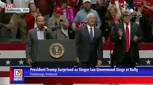 Lee Greenwood Surprised President Trump on Campaign Stage