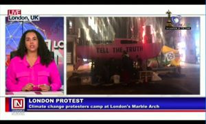 Climate Change Protesters in London Set Camp at Marble Arch